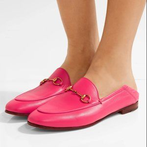 GUCCI Brixton Leather Horsebit Loafers Pink